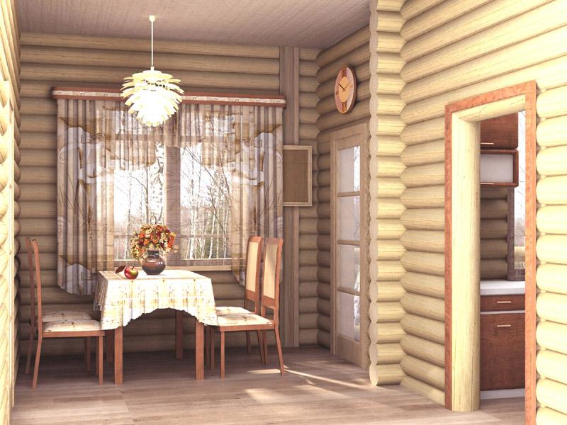 Фото интерьера деревянного дома из оцилиндрованного бревна внутри 196