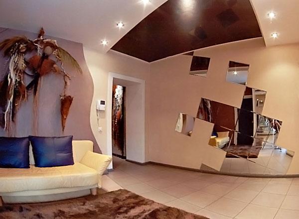 Дизайн кухни и гостиной в коттедже